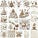 18 Pieces Christmas Drawing Stencils- Plastic Christmas Themed Painting Templates in Various Patterns as Merry Christmas, Santa Claus, Snowflakes, Christmas Tree, Elk Pattern for DIY Craft Christmas
