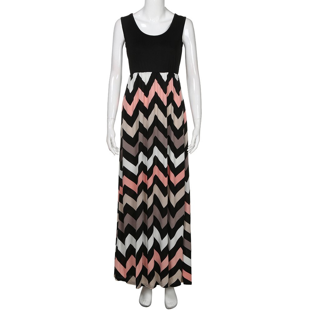 Womens Long Maxi Dress, JOYFEEL Ladies❤️ Striped Straight Sleeveless Party Dress Stitching Casual Plus Size Beach Dress Black by JOYFEEL-women dresses (Image #5)