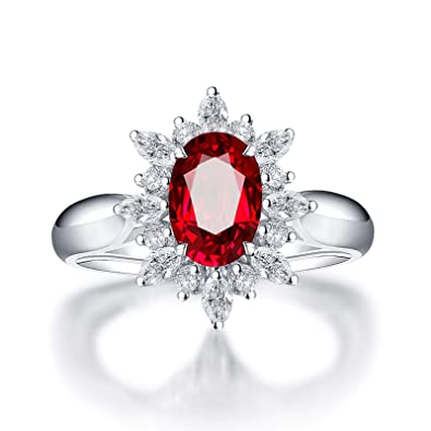 07567339b084 Daesar Anillos de Compromiso de Oro Blanco de 18 Quilates Flor Diamante  1.65 ct Rubí Anillo de Boda de Oro Blanco  Amazon.es  Joyería