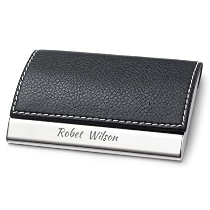 Amazon personalized black leather magnetic business card personalized black leather magnetic business card holder stainless steel credit card case free engraving colourmoves