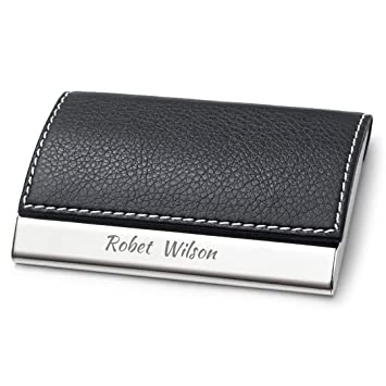 Personalized black leather magnetic business card holder stainless personalized black leather magnetic business card holder stainless steel credit card case free engraving reheart Gallery