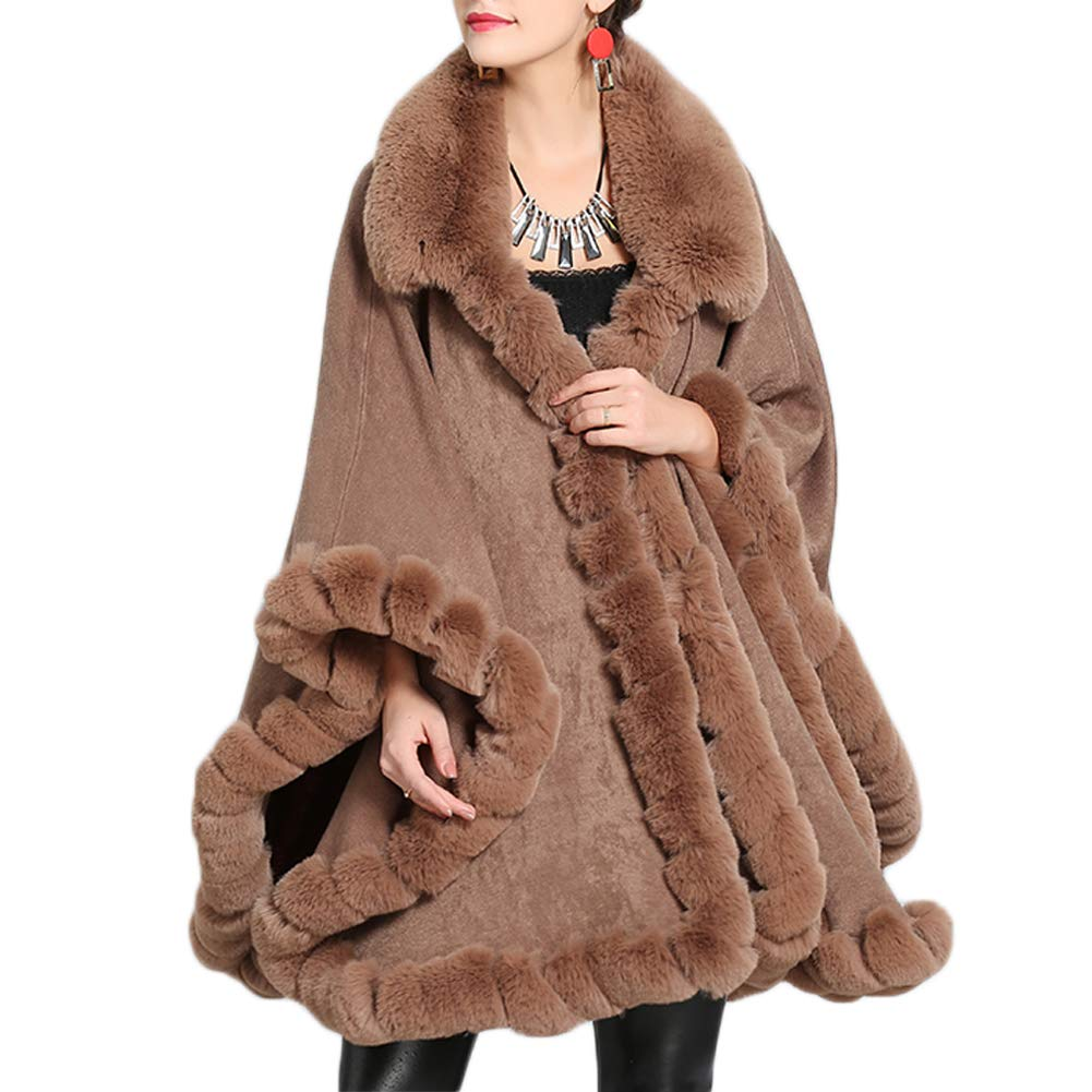 color5 Michealboy Women Thicken Faux Fur Oversize Cape Poncho OpenFront Blanket Wrap