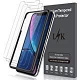 LK [3 Pack] Screen Protector for iPhone XR 6.1, [Tempered Glass][Case Friendly] DoubleDefence Technology [Alignment Frame Easy Installation] with Lifetime Replacement Warranty
