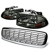 Dodge Dakota/Durango 1pc Bumper Corner Headlight (Smoke Lens Amber Reflector)+Front Grille (Chrome)
