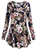 Laksmi Womens Casual Long Sleeve Tunic Tops Pleated V Neck Flared Comfy Floral Tunic Shirts