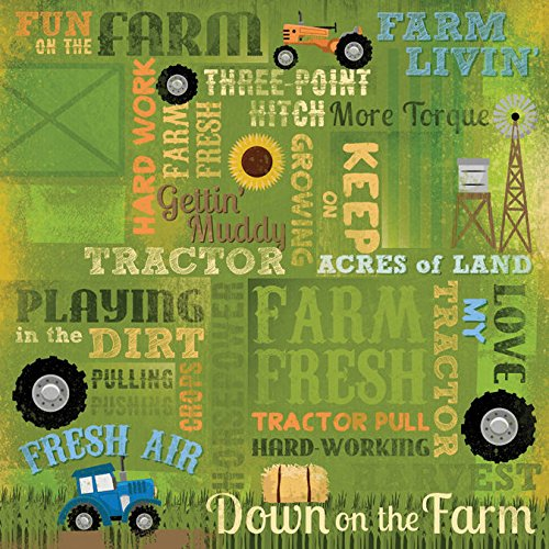 Karen Foster Design Scrapbooking Paper, 25 Sheets, Love My Tractor Collage, 12 x 12