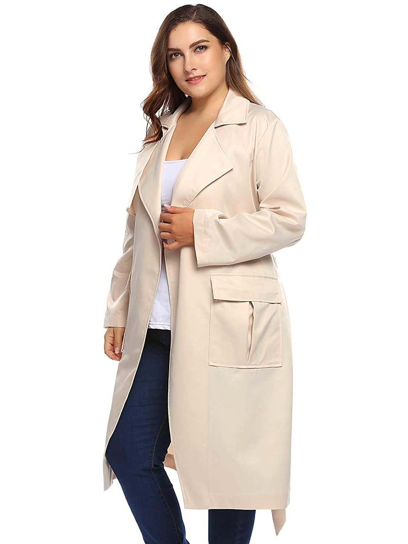 36a6bd6378a Amazon.com  Zeagoo Women Plus Size Autumn Winter Long Trench Coat Jacket  with Belt (1X-5X)  Clothing