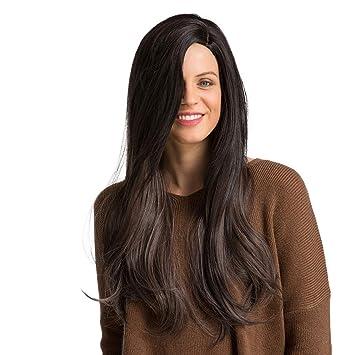 Modaworld Pelucas de pelo largo sexy de mujer Peluca de olas Peluca Glueless Negro Marrón natural Pelucas de cabello de fibra sintética resistente al calor ...