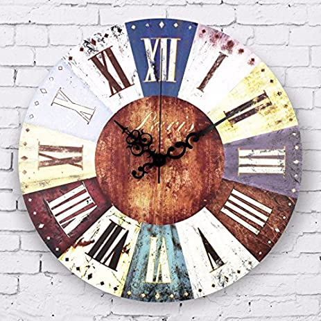 Amazon.com: Vintage home decor large wall clock roman numerals ...