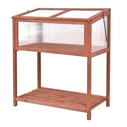 Amazon.com : Giantex Garden Portable Wooden Cold Frame Greenhouse ...