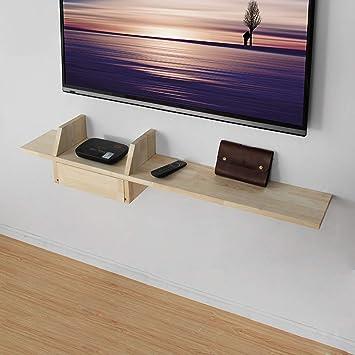 Estante de pared de madera maciza Estante de audio y video Estante flotante Estantería de pared