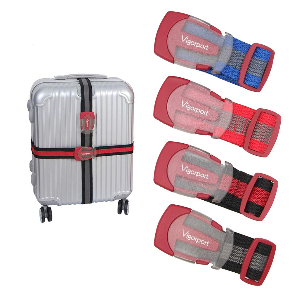 Luggage Belt Strap, Heavy Duty Luggage Straps For Suitcase Add A Bag, Travel Accessories With Quick Connect Frosty Buckle For Car Seat,Pack of 4 (Red)