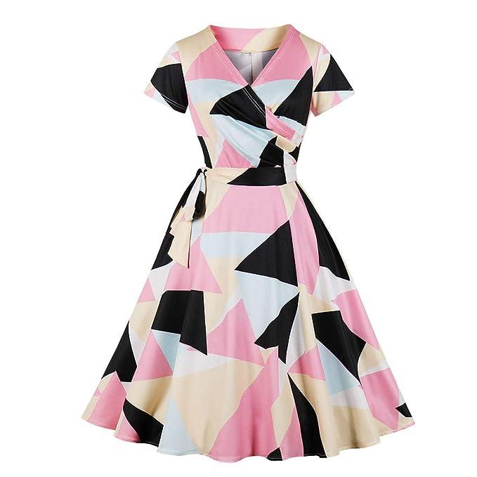 BiilyLi Mujer Vintage Elegante Impresión Geométrica Vestido Retro 50 s Cóctel de 60 Rockabilly Hepburn