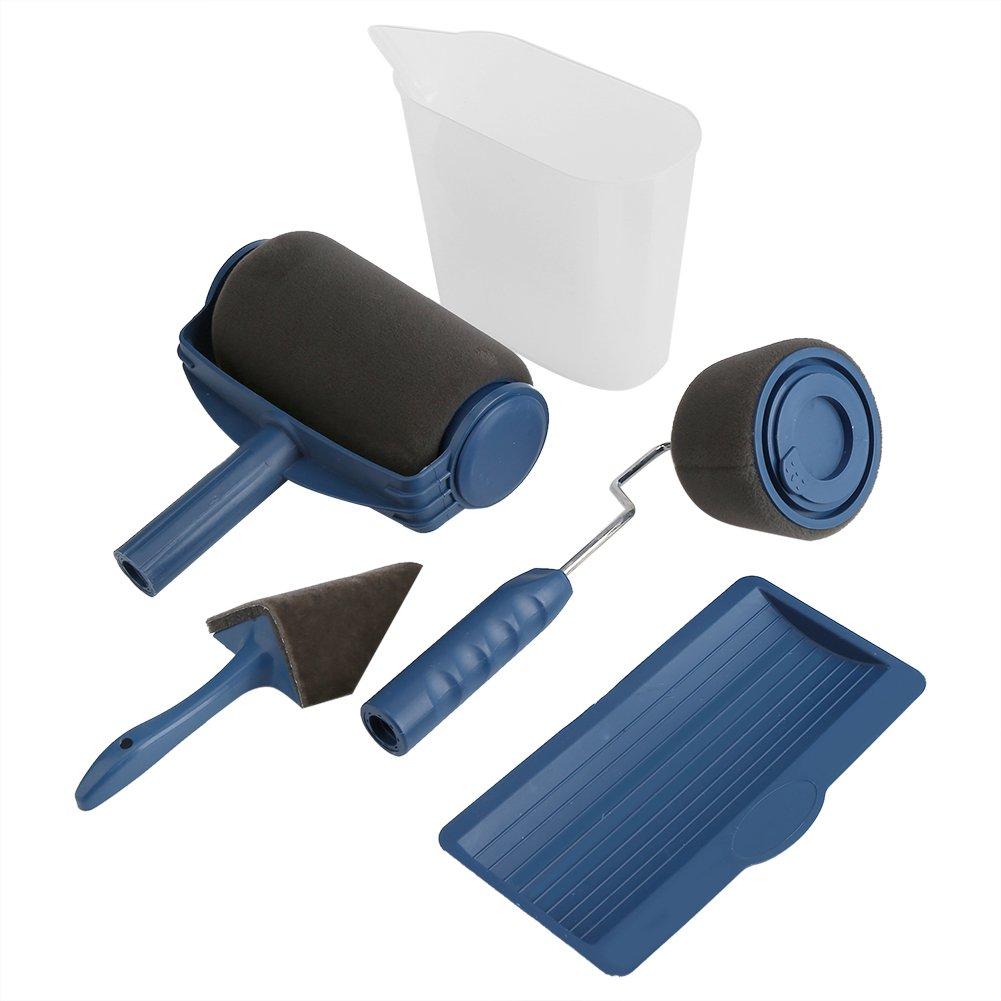 Kit de rodillo de pintura, 5pcs Paint Roller multifuncional pincel rodillo de pintura antigoteo antisalpicaduras para pintura sobre Masion pared techo puerta Zerone