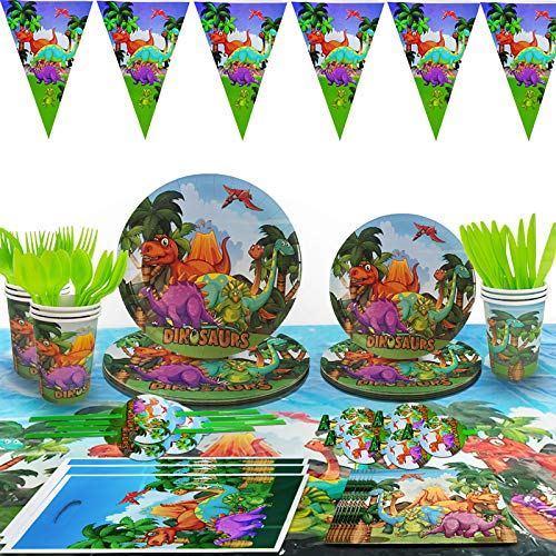 Motiloo Dinosaur Paper Plates,(Serves 10) Dinosaur Party Supplies Kids Birthday Baby Shower Dinosaur Birthday Packs Including Plates Napkins Cups Forks Spoons Tablecloth
