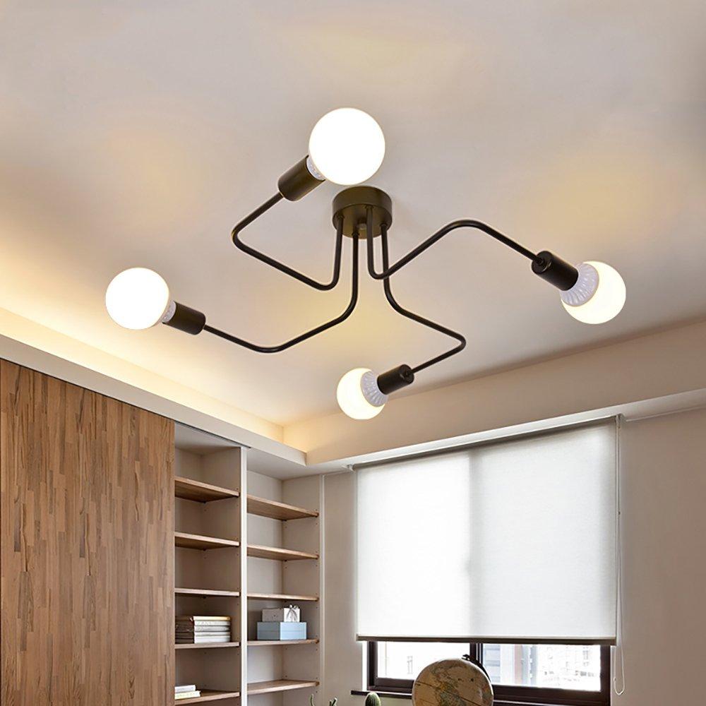 Lingkai Ceiling Light Fixture Metal Art Semi Flush Mount Ceiling Pendant Light Retro 4-Light Sputnik Chandelier by Lingkai (Image #4)