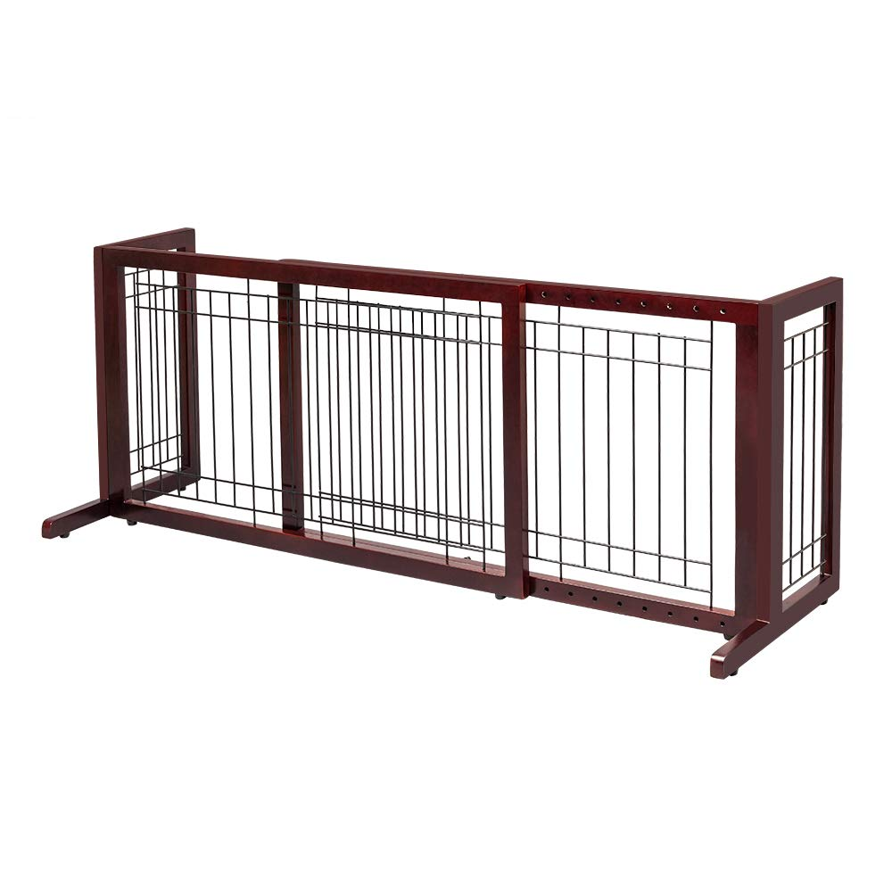 Bonnlo Freestanding Pet Gate Adjustable from 40 to 71 Sturdy Solid Wood Dog Gate for Indoor Stairs, Wide Openings, Doorway Cherry