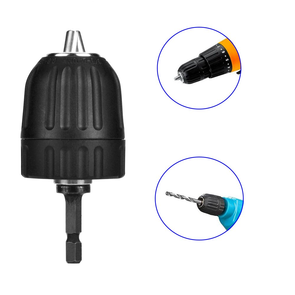 10mm Impact Drill Chuck Quick Release Conversion Tool with 1//4 Hex Chuck Adaptor JTENG Heavy Duty Keyless Drill Chuck 0.8mm