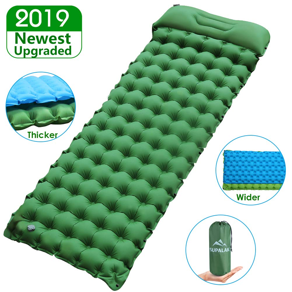 Sleeping Pad for Camping Backpacking, Thickened 3.7'' & Widened 27.5'' Ultralight Compact Camping Pad with Pillow Lightweight Air Mattress Inflatable Sleeping Mat for Hiking, Travelling by SUPALAK