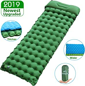 "Sleeping Pad for Camping Backpacking, Thickened 3.7"" & Widened 27.5"" Ultralight Compact Camping Pad with Pillow Lightweight Air Mattress Inflatable ..."