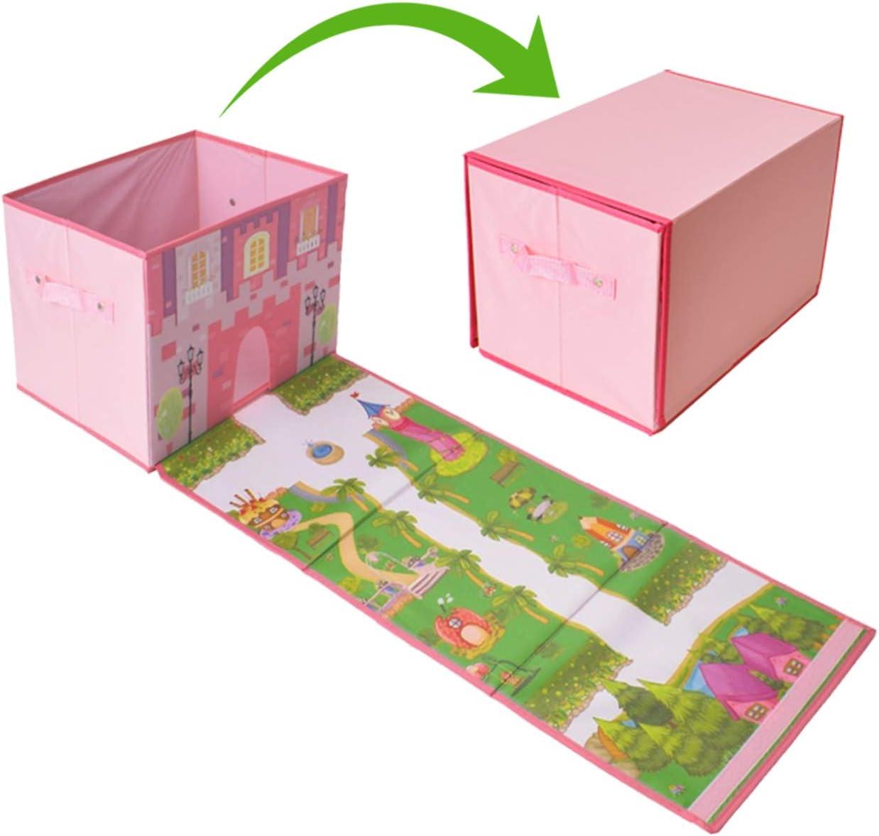 Buabi Caja arcón de Juguetes, se Convierte en Alfombra de Juegos (Castillo de Princesa)