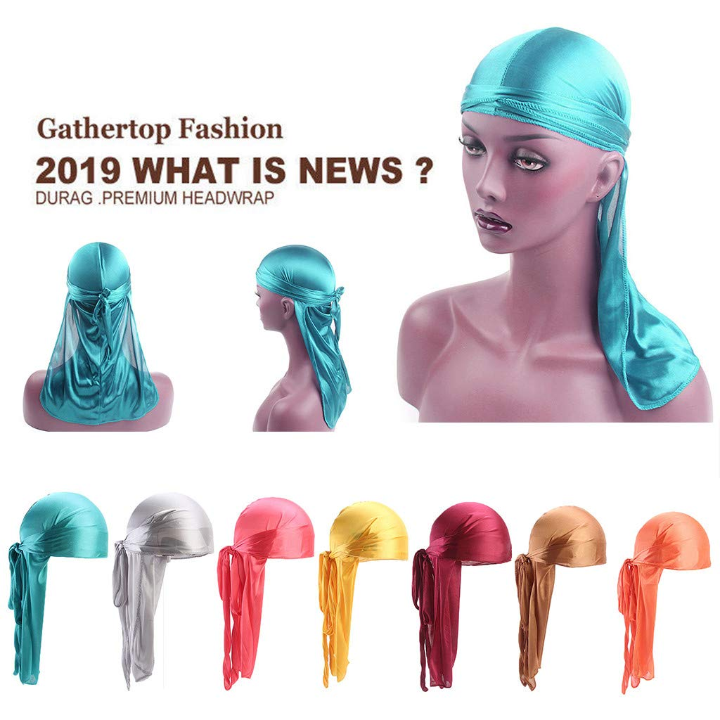 Outsta Hat&Cap Men/Women Silk Polyester Bandana Hat Durag Rag Tail Headwrap Headwear Gift