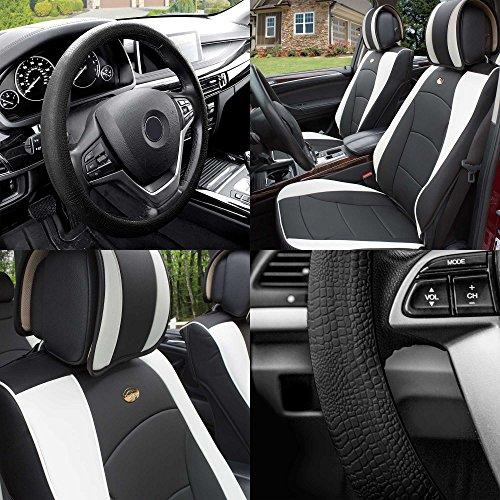 FH GROUP PU205102 Ultra Comfort Leatherette Cushion Pad Pair Set Seat Covers White / Black Color w. FH3001 Black Silicone Steering Wheel Cover- Fit Most Car, Truck, Suv, or Van