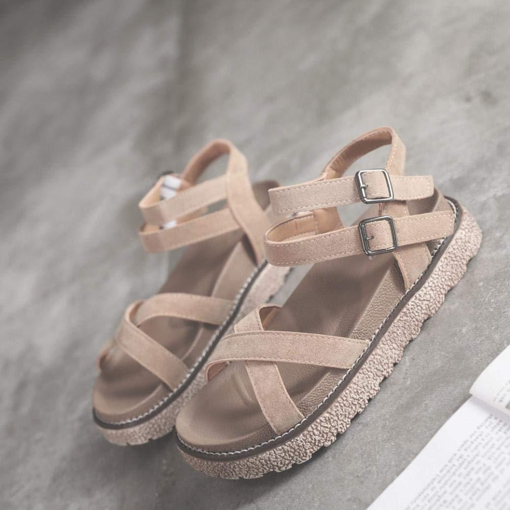 1096029ab Amazon.com  FORUU Women s Vintage Flat Ankle Cross Straps Buckles Beach  Shoes Roman Slippers  Shoes