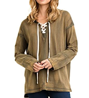 74245741fe Image Unavailable. Image not available for. Color  Women s Entro Tie-Dye  Hoodie With Lace Up Detail