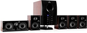 Auna Areal Active 525, Home Cinema System, 5.1 Surround Sound System, 95W RMS total, Bass Reflex Subwoofer, Standby function, 5 Satellite Speakers, Bluetooth, USB Port, SD, AUX, Remote Control, Walnut