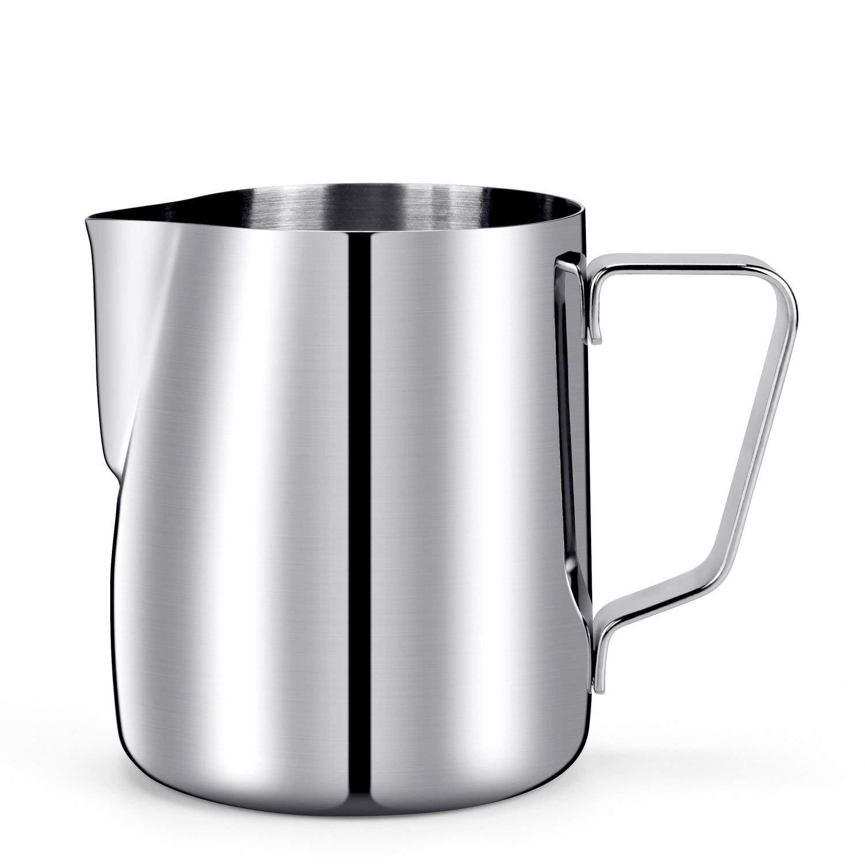 12 Oz. Milk Pitcher, HULISEN Stainless Steel Espresso Pitcher Latte Frothing Pitcher