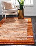 Unique Loom Autumn Collection Rustic Casual Warm Toned Border Terracotta Area Rug (5′ x 8′) For Sale