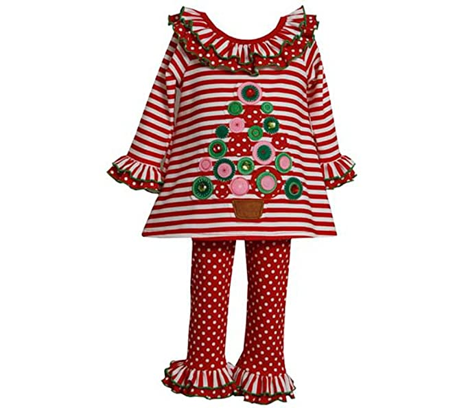 bd6426be5f5 Amazon.com: Bonnie Jean : Girl's Ruffle Stripe Christmas Tree Pant ...