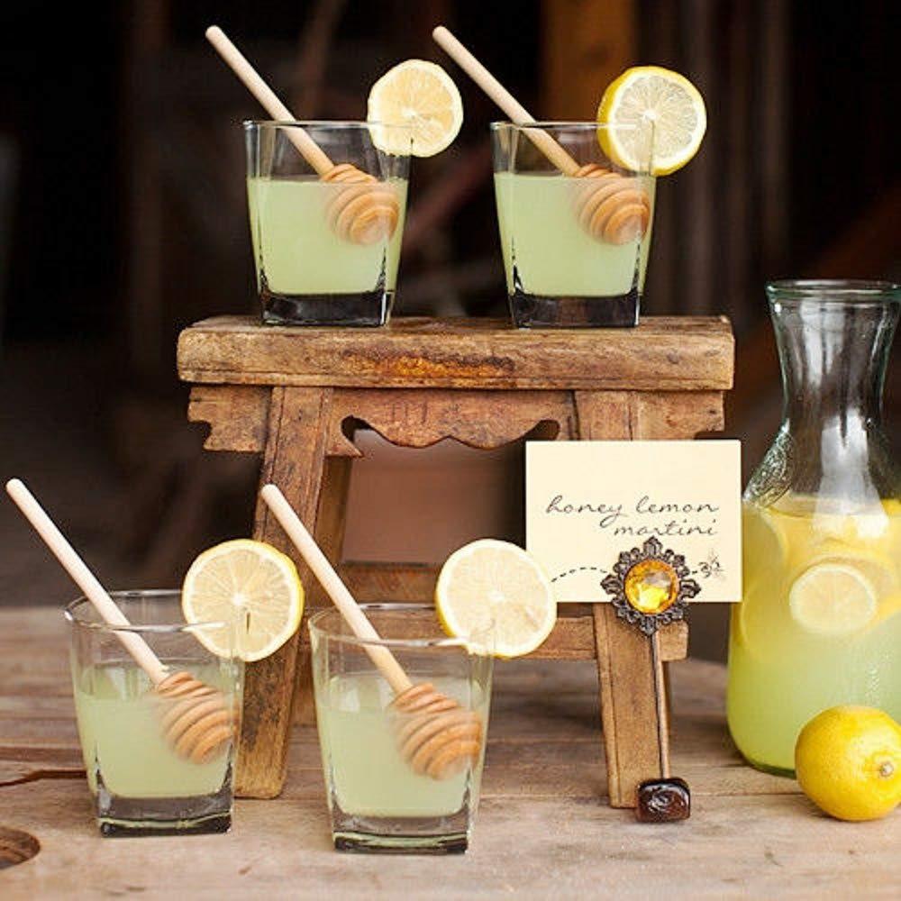 JZK 50 X Cucchiaini bastoncini miele legno piccoli mini spargimiele 8 cm bastoni cucchiai legno per miele per vasetti miele piccoli per bomboniere ringraziamento matrimonio compleanno battesimo