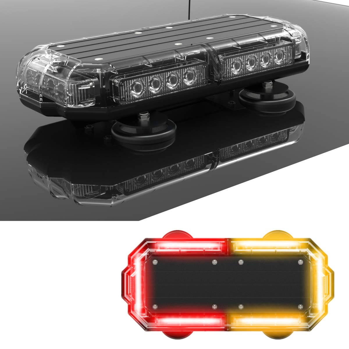 SpeedTech Lights Mini 14 72 Watts LED Strobe Lights for Trucks Plows and Emergency Vehicles with Magnetic Roof Mount in Red//Blue Cars