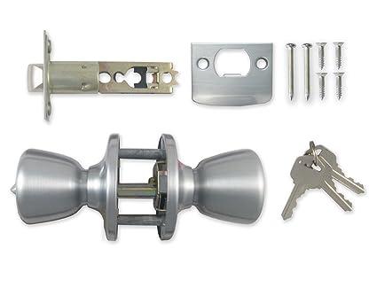 Keyed Lock Entrance Door Lock Satin Silver/Cerradura con Llave de Puerta Bronce Pulido MADOL