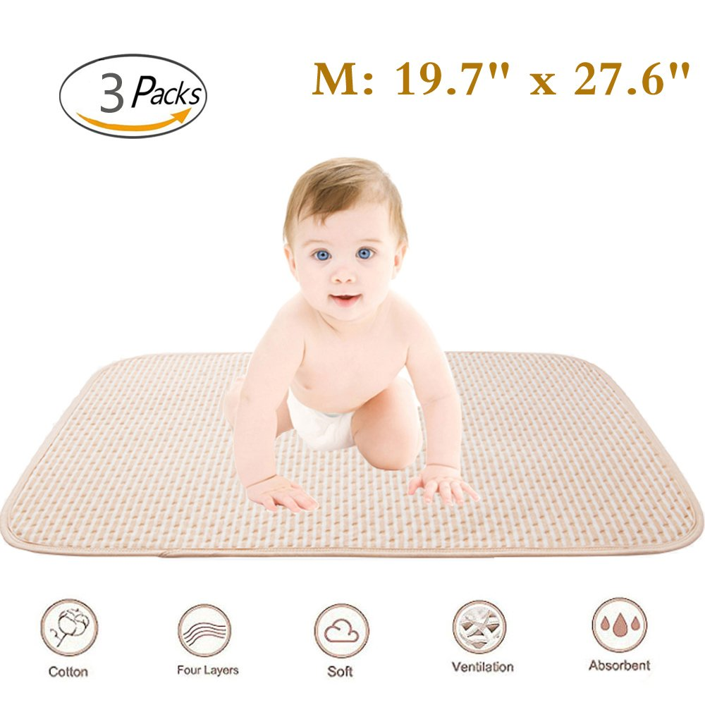 Baby Waterproof Mattress Crib/Bed Pads Organic Cotton Incontinence Sheet Cover Protector Changing Mat Diapering Washable Bedwetting Pad Ultra Absorbent for Toddler Adults (M-3P) by Setaria Viridis