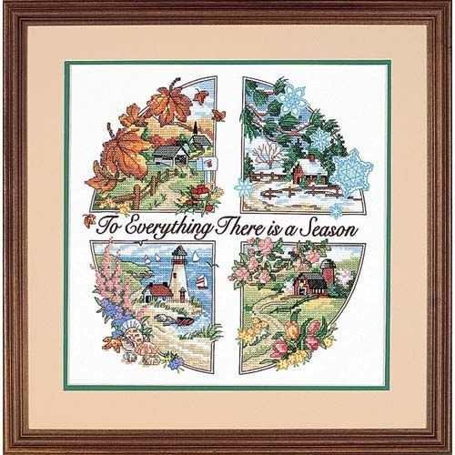 Dimensions 'Season for Everything' Stamped Cross Stitch Kit, 14'' W x 14'' - Cross Stitch Dimensions Stamped