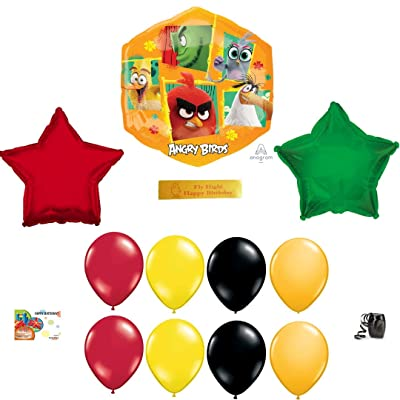 Angry Birds 2 Birthday Party Supplies Including 11 Angry Birds Balloons and a Printed Happy Birthday Ribbon: Toys & Games