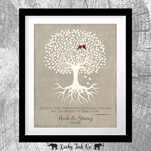 1 Corinthians 13 Personalized Thank You Gift For Parents Faith Hope Love Gift For Mother of Groom or Bride Family Wedding Poem Tree Gift For Mom and Dad 8x10 Unframed Custom Art Print by Lucky Tusk Co.