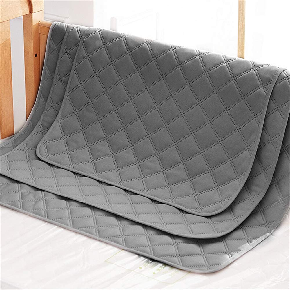 Ggsrtesxs Bed Pad Adult Incontinence Baby Patient Absorbent Quality Large Comfortable Cotton Non-Slip Leakproof Quilted Waterproof Reusable Washable,Gray,70x120cm by Ggsrtesxs