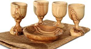 Communion Cups - The Lord's Supper - Olive Wood Bread Tray with Four Tall Olive Wood Cups in Gift Bag