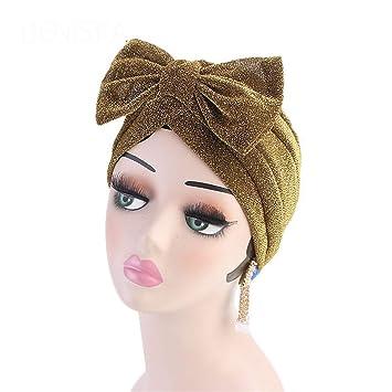 Amazon.com : Metallic Bow Turban Hijab Cap Chemo Hat Muslim Turban Bow Knot Hair Accessory For Women Gold : Beauty