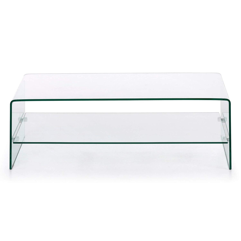 Kave Home - Mesa de Centro Burano de Cristal Templado Transparente con Forma Rectangular 110 x 55 cm