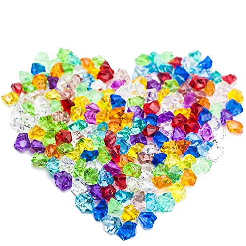 Acrylic Ice Rock,Simuer Pirate Jewels Gems Faux Diamond Fake Crystals Treasure Gems Fishbowl Beads 1 Bag Approximately 300,for Tables Decorations Vase Fillers