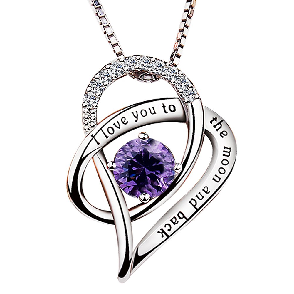 Viyino Jewelry 925 Sterling Silver Cubic Zirconia I Love You To The Moon and Back Love Heart Pendant Necklace 18'' Chain (Purple)