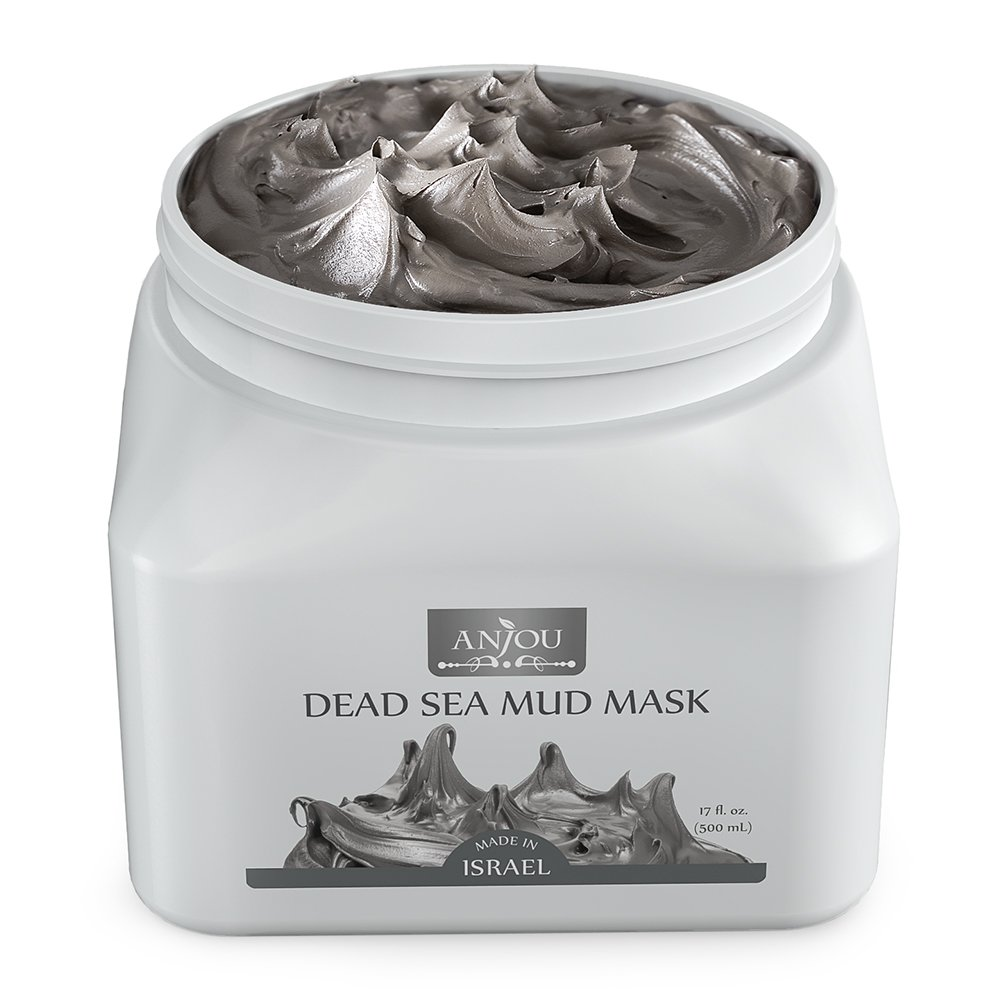 Anjou Dead Sea Mud Mask (17 oz / 482 g, Made in Israel) for Facial and Body Treatment