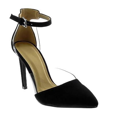 Angkorly Damen Schuhe Pumpe Sandalen - Stiletto - Knöchelriemen - Dekollete - Transparent - String Tanga Stiletto High Heel 10.5 cm - Schwarz JM-81 T 37 bFdApH68