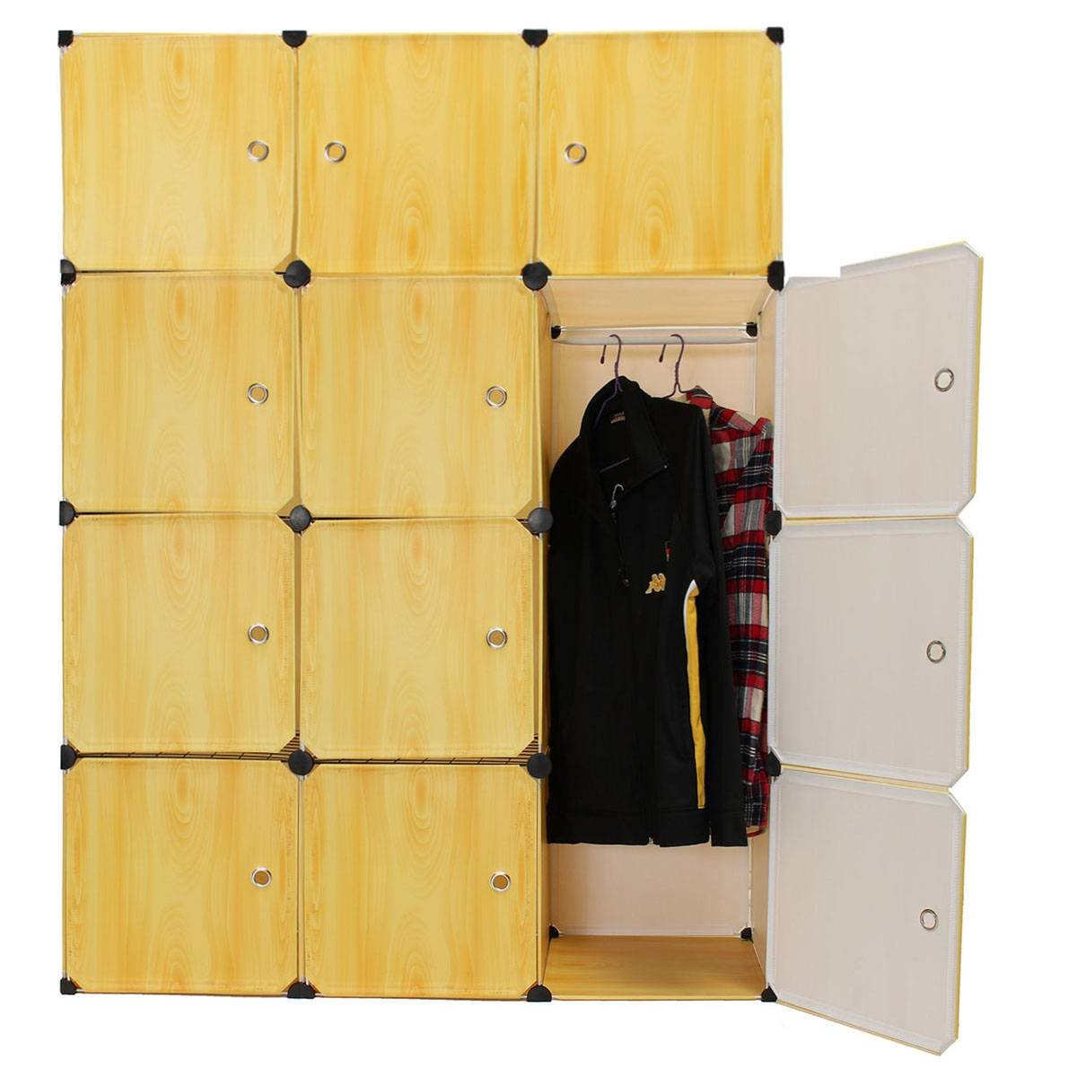 wood resin box grain kitchen wardrobe clothes closet diy storage kingso amazon dp home cubes cabinet organizer yellow com