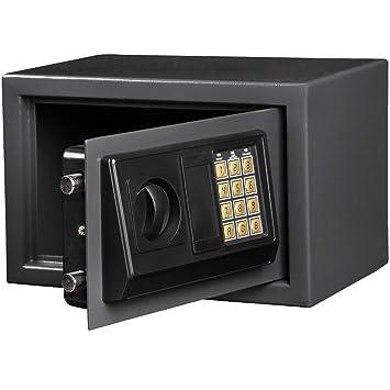 Jago - Caja fuerte electrónica, apertura mediante combinación y llave (gris oscuro): Amazon.es: Oficina y papelería